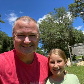 My wee littlest daughter and I arriving to Ichetucknee Springs Campgrounds
