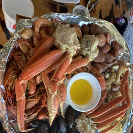 30 min away from Tybee Island and the Crab Shack for great sea food.  A platter for two.