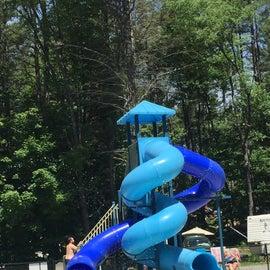 Water slide pool area