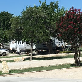 The RV park has about 20 spots for long-term RV stays