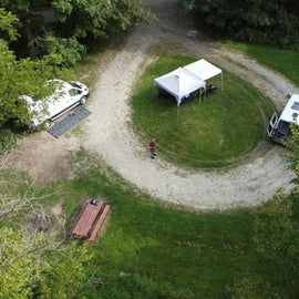 Overhead view of the 2 sites.