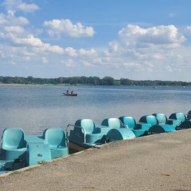Paddle boats for rent.