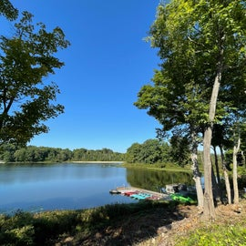 View of the lake at Punderson State Park, Ohio near the campground check-in. Sept. 2021