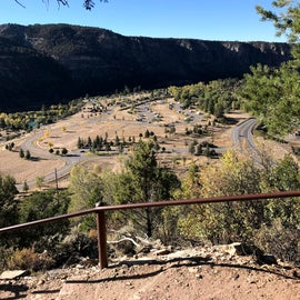 View from top of mountain looking at campground