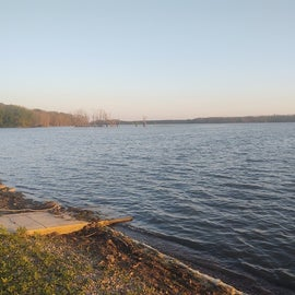 A fork of the Mississippi River, across the train tracks from the campsite.