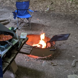campsites feature a nice fire pit with a fully adjustable grate for cooking.