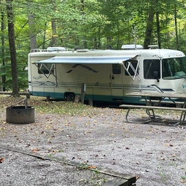 Backward site for RV. Notice pedestal is center of RV. We had to pull in forward instead of back in.