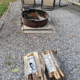 Nice firepit and wood bundles we got from our camp host