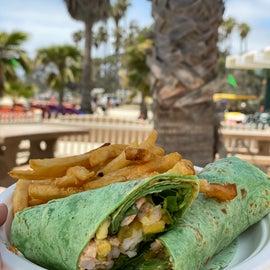 Wrap and fries at Café Del Sol