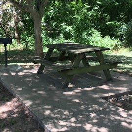 Campsite picnic table and grill