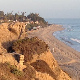 View of the beach from the bluffs