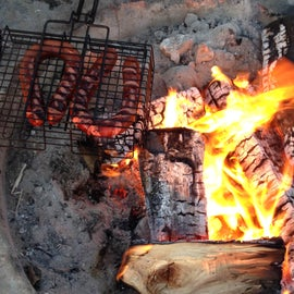Roasting sausages at Old Man's bonfires