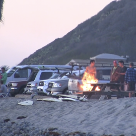 Bonfires and day use parking area at Old Man's at San Onofre State Beach