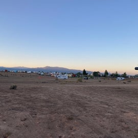 Looking across the dispersed camping area over to the main campground