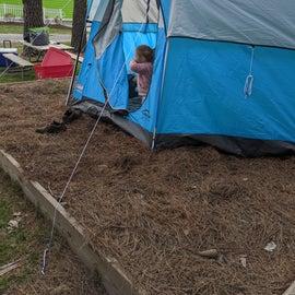 Tent on raised platform