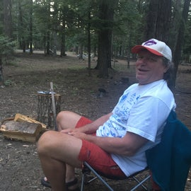 My husband relaxing by the fire