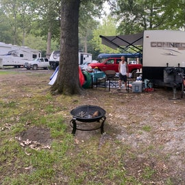 26' travel trailer. hard to keep in site with large tree and flooding on access paths.