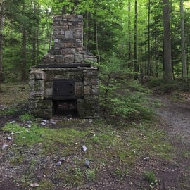 Old stone fireplace in park