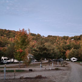 Wide angle view of campground and scenery.