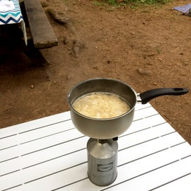 Mac n' Cheese cooked on the Primus Classic Trail stove in the California Redwoods.