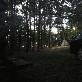 A view from the campsite in the evening, notice parking is very close to tent sites