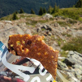 Enjoying a much needed snack/refuel on this beautiful but challenging hike.  Picky Bars of the win - courtesy of Cairn.