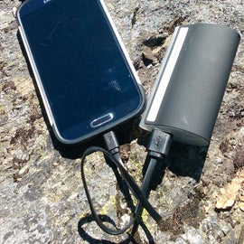 Cairn box came to the rescue with this portable battery -  recharging my friend's phone mid-adventure.