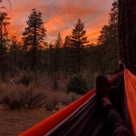 November sunset from the hammock. This is the site closest to the trail to climbing (Silver Moccasin I think it's called)