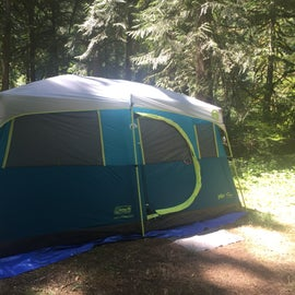 Large campsites with lots of space! This is our 8-person tent set up.