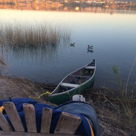 Our canoe docked right outside our tent.