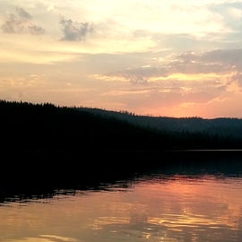 Sunset on Lewis Lake! You'll have to walk to the boat launch area to see the lake.
