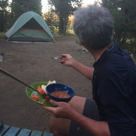 Snacking at the campsite