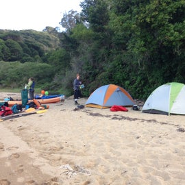 Camp set-up on the higher part of the beach to avoid the high tide.