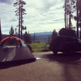 We camped on the tarmac because the site was riddled with chipmunk burrows